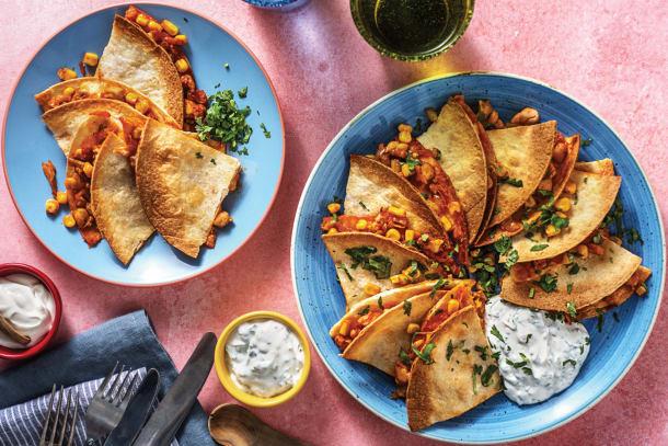 Chicken & Corn Baked Quesadillas