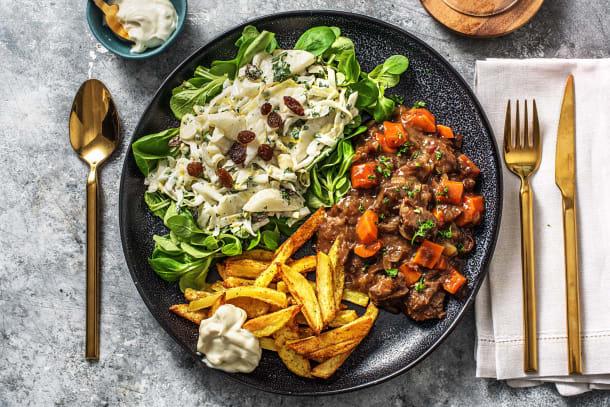 Ragoût de veau de luxe et salade de chicons