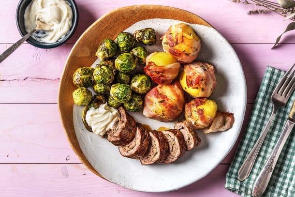 Rundervink met aardappelen in spek