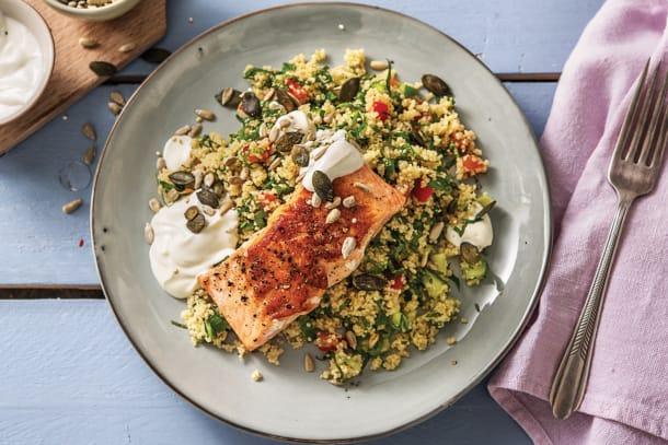 Low Calorie Meals - Seared Salmon & Couscous Tabbouleh