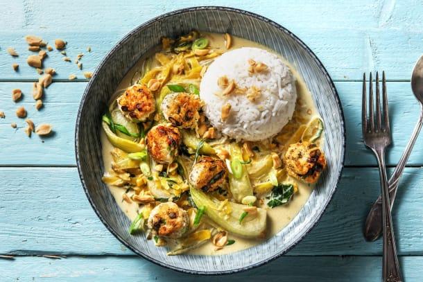 Curry vert thaï et boulettes de poulet maison