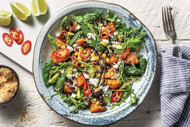 Low Calorie Meals - Caribbean Jerk Pumpkin & Black Bean Salad