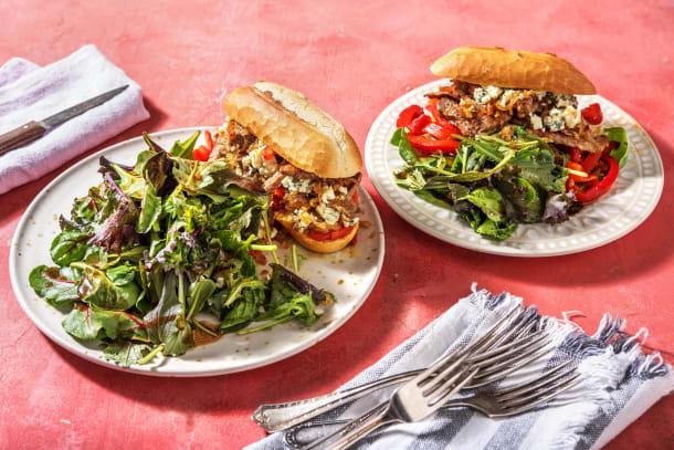 Steak sandwich met gepofte paprika