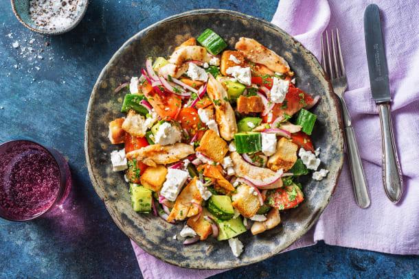 Schnelle Gerichte - Pouletbrust auf griechischem Salat