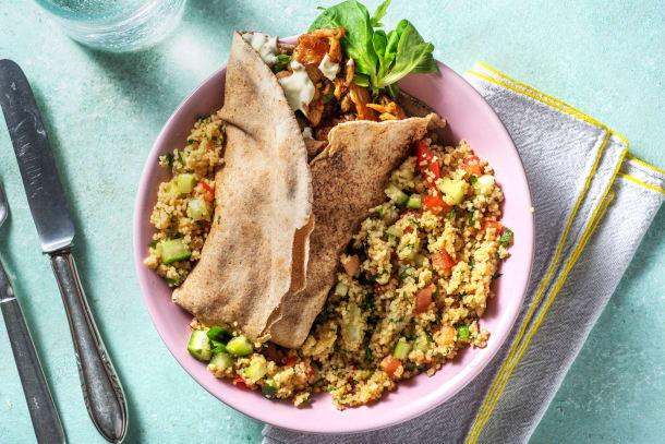 Shawarma de poulet et salade de couscous