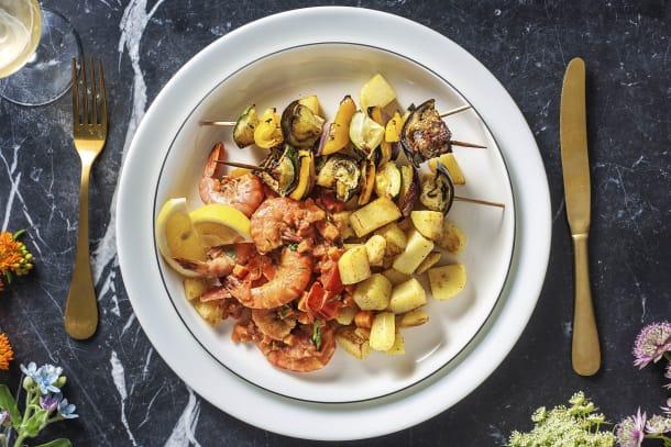 Griekse garnalen met groenten-souvlaki
