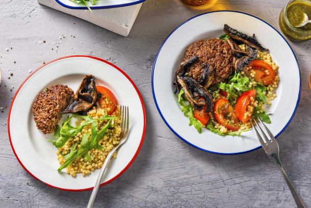 Salade de couscous perlé et steak haché