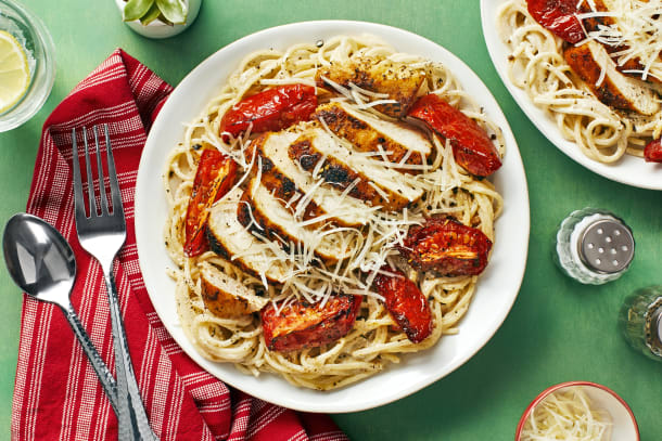 Hall Of Fame - Chicken over Garlic Parmesan Spaghetti