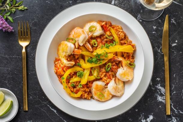 Risotto à la tomate et aux crevettes géantes