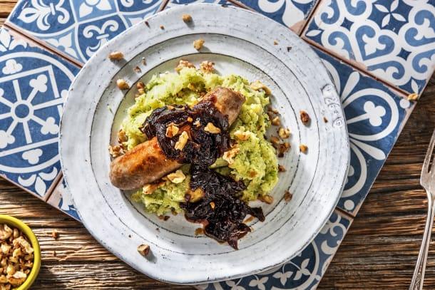 Purée de brocoli et sauce à l'oignon