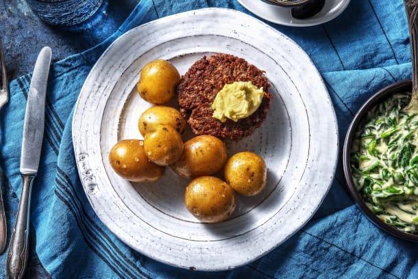 Steak haché de bœuf et beurre au citron vert
