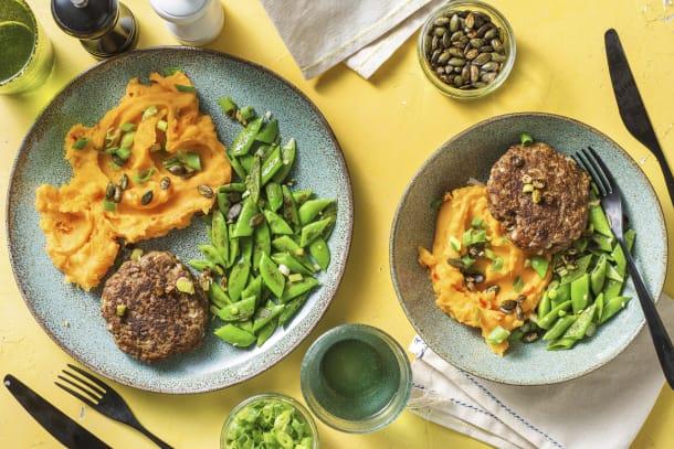 Steak haché et purée de patates douces piquantes