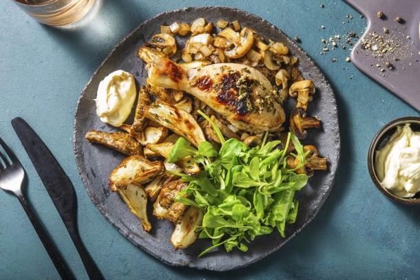 Topinambours rôtis avec des pilons de poulet