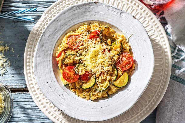 Orzo, courgette et tomates cerises