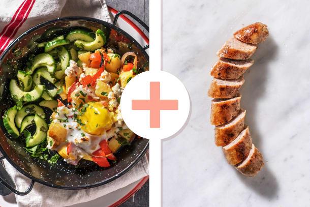 Plat de légumes au four avec un œuf et une saucisse de porc en extra