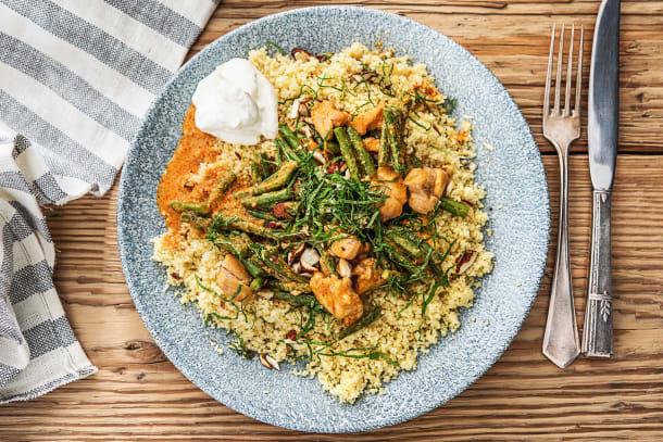 Curry au poulet et haricots verts