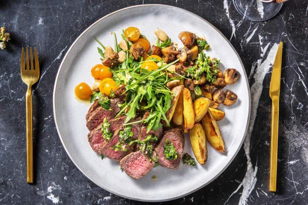 Steak sauce chimichurri et pommes de terre