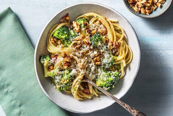 Recettes rapides - Linguine au brocoli et fromage de chèvre