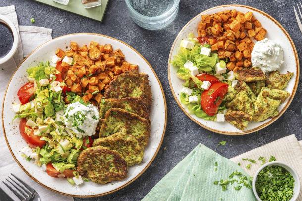 Brokkolitaler mit Ofen-Süßkartoffeln
