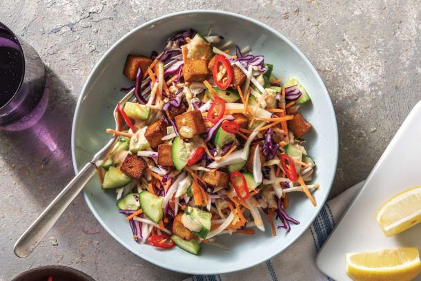 Quick Dinner Ideas - Peanut & Makrut Lime Tofu Salad