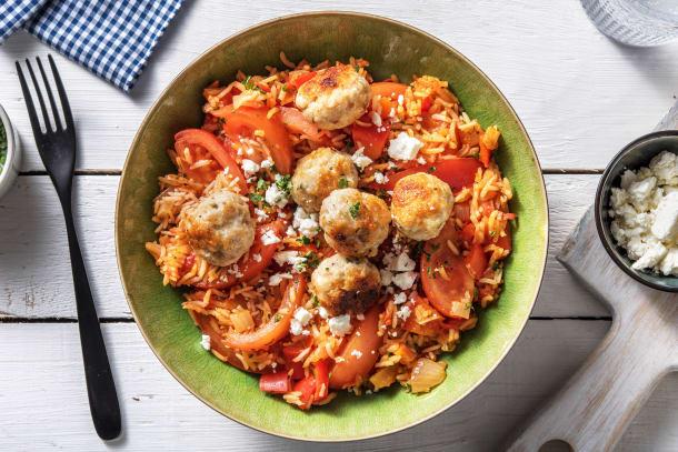 Riz à la tomate et boulettes de poulet