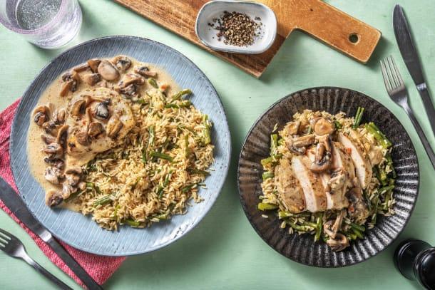Recettes rapides - Filet de poulet épicé, sauce aux champignons et à la crème