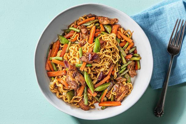 Recettes rapides - Nouilles et cuisse de poulet à l'orientale