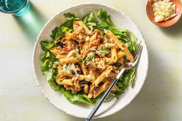 Recettes rapides - Penne sauce à la crème, tomates séchées et aubergine