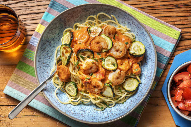 Spaghetti aux crevettes sauce diable