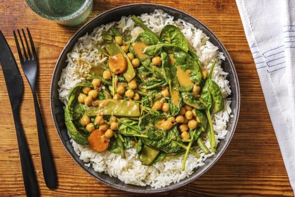 Snelle recepten - Milde curry met spinazie en kikkererwten
