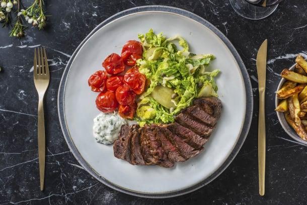 Steak frites et mayonnaise à l'estragon
