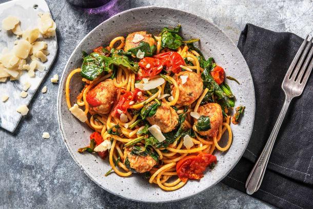Spaghetti aux boulettes de poulet