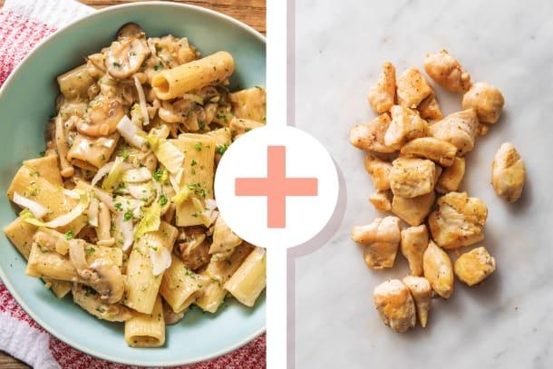 Rigatoni sauce à la crème de champignons et dés de poulet en extra