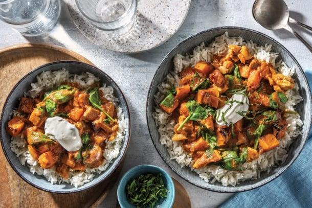 Indian Chicken, Spinach & Roast Pumpkin Curry