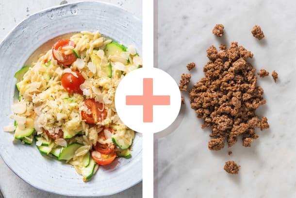 Orzo, courgettes, tomates cerises et viande hachée
