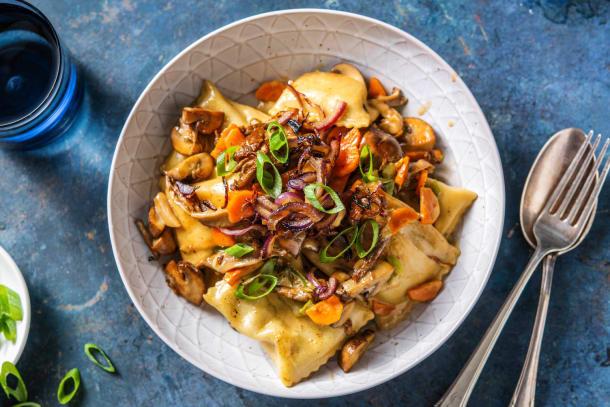 Gemüse-Maultaschen-Pilzpfanne