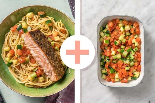 Double portion de filet de saumon et spaghetti au pesto