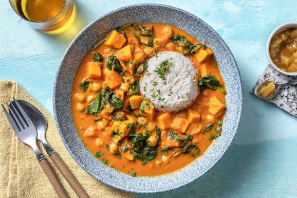 Curry de pois chiches aux cubes de tomates et patates douces