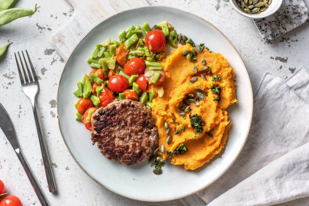 Steak haché et purée de patates douces piquante