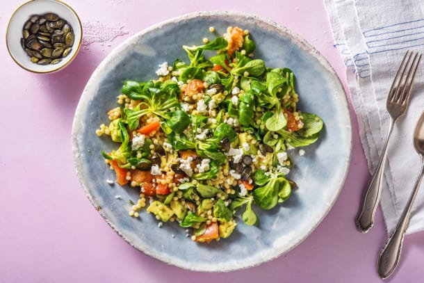 Salade de couscous perlé à l'avocat et à la feta