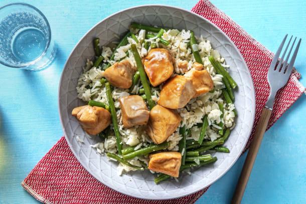 Snelle gerechten - Aziatische kip met sperziebonen en bloemkoolrijst