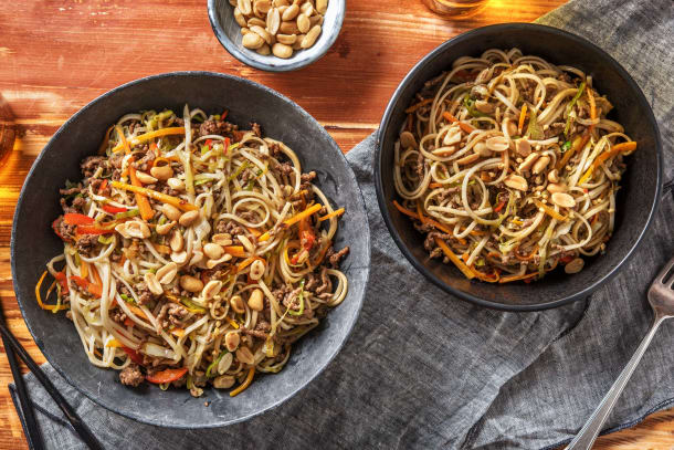 Snelle gerechten - Aziatische noedels met gekruid gehakt