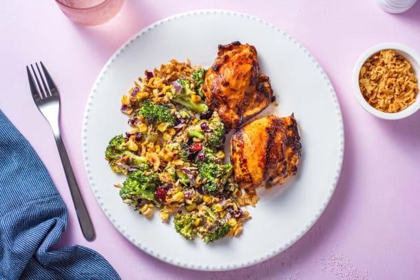 BBQ Rubbed Chicken and Picnic Broccoli Salad
