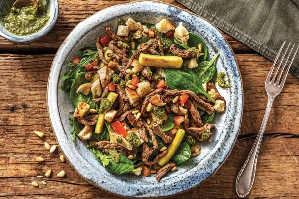 Quick Italian Beef Pesto Toss