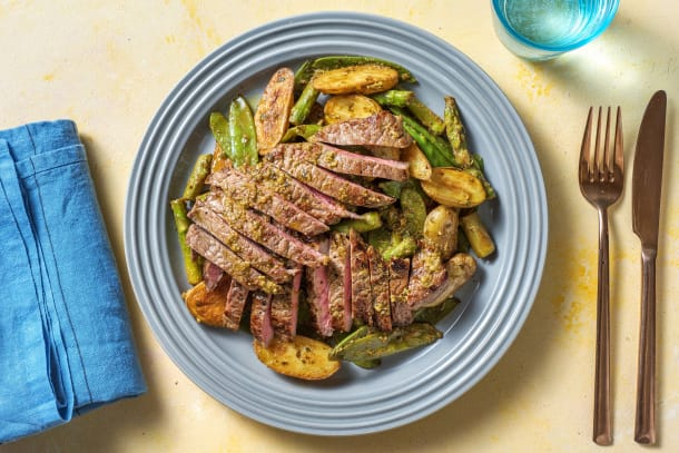 Quick Meals - Beef Sizzler Steaks, Asparagus and Potato Salad
