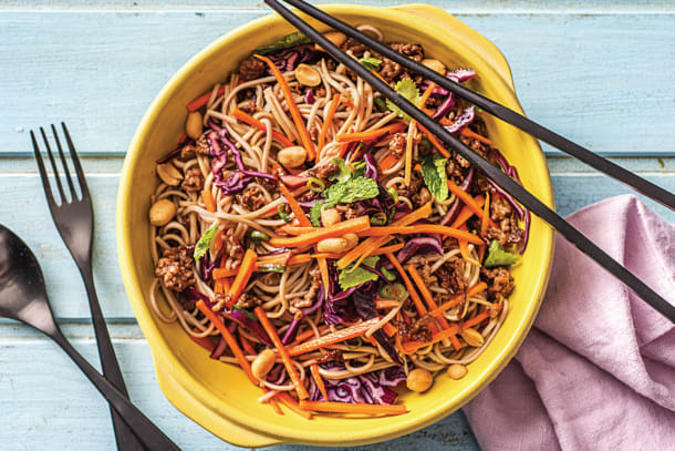 Asian Minced Beef & Crunchy Veg Soba Noodle Bowl