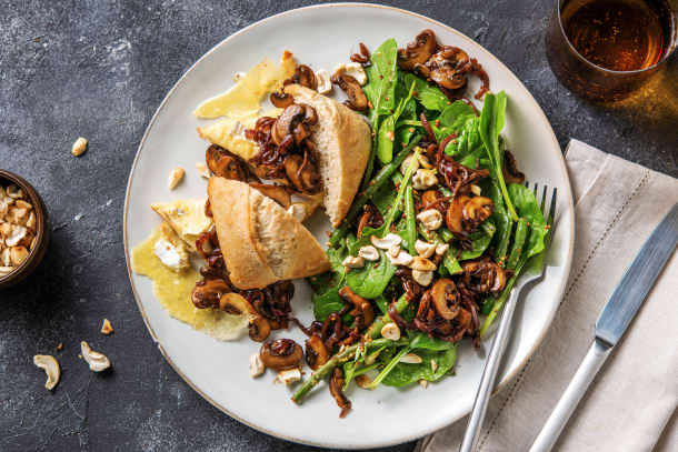 Brie Cheese, Mushroom and Caramelized Onion Sandwich