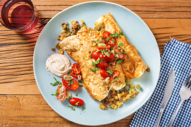 Quick Dinner Ideas - Cheesy Beef, Pepper and Corn Enchiladas