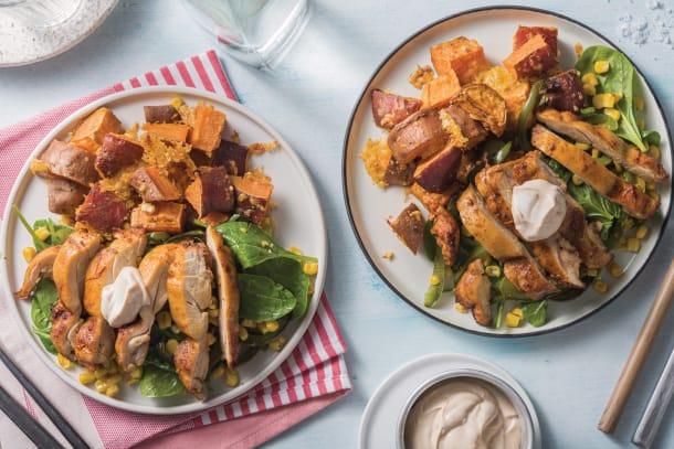 Family favourites - Chicken & Cheesy Sweet Potato Traybake