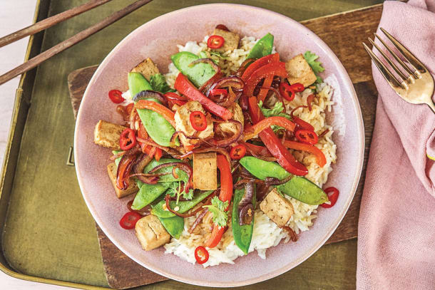 Chinese Sticky Tofu & Veggie Stir-Fry